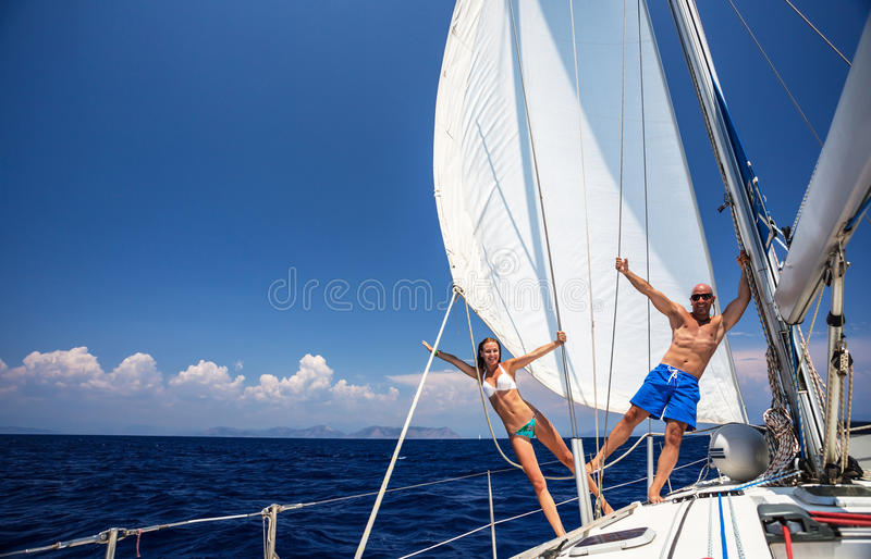 Download Happy couple on sailboat stock image. Image of couple - 33289021