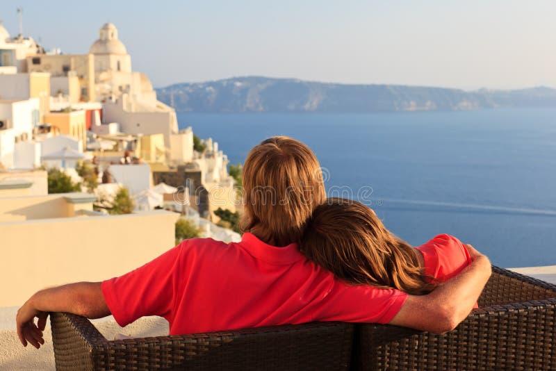 Happy couple on Santorini vacation stock photo