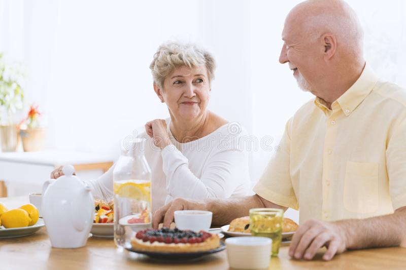 Happy couple of seniors royalty free stock images