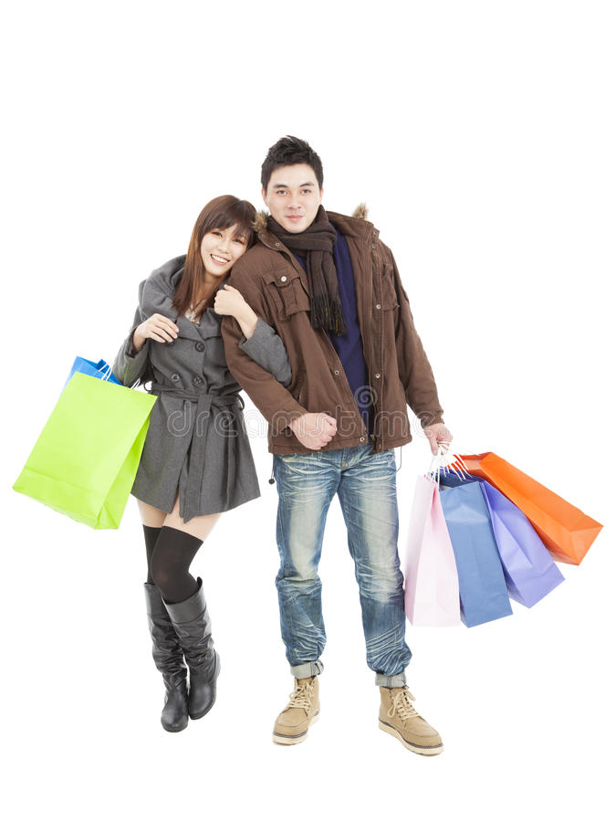 Download Happy Couple With Shopping Bags Stock Photo - Image: 27087944