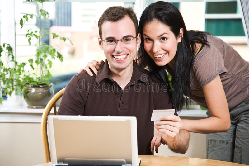 Download Happy Couple Shopping Online Stock Photo - Image: 10315844