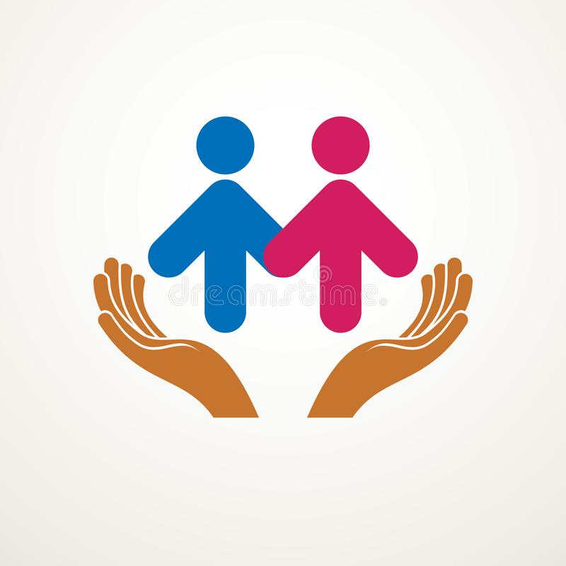 Happy couple simple vector logo or icon created with people geometric signs in a shape of arrows and care hands. Tender and loving. Relationship of man and stock illustration