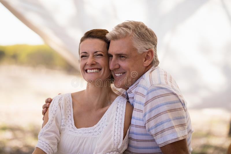Happy couple sitting in cottage stock images