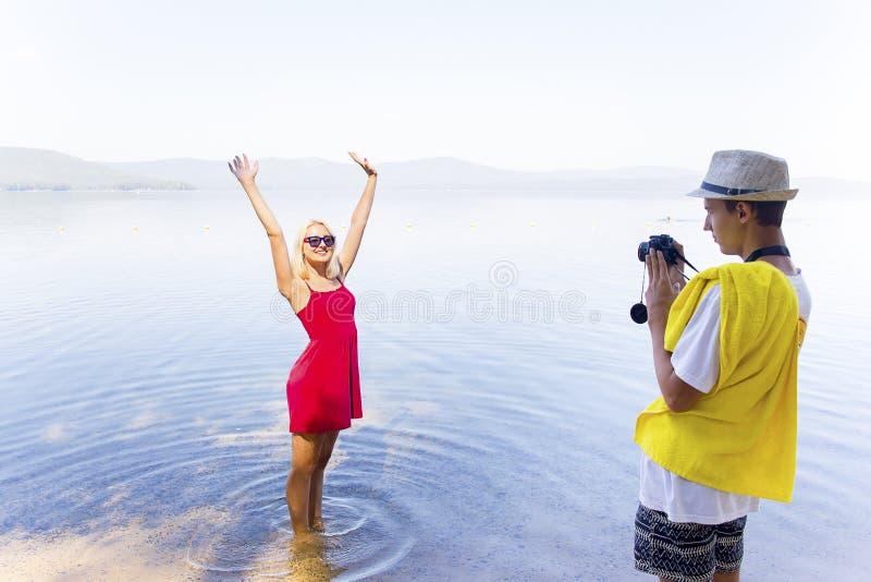 Couple on a beach stock photography