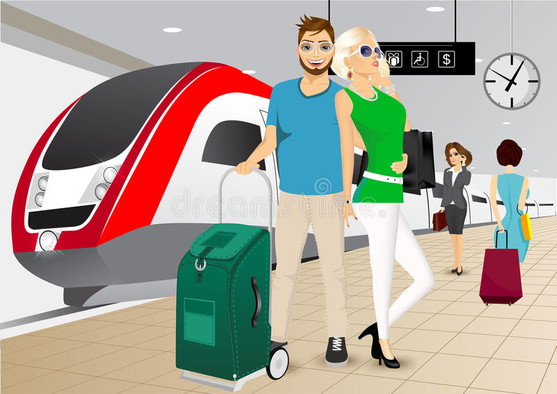 Happy couple standing at the train station. Vector illustration of happy couple standing in an embrace on the platform at the train station against a high speed royalty free illustration