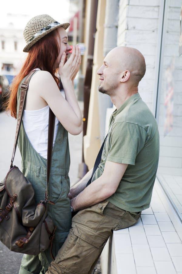 Happy couple at street