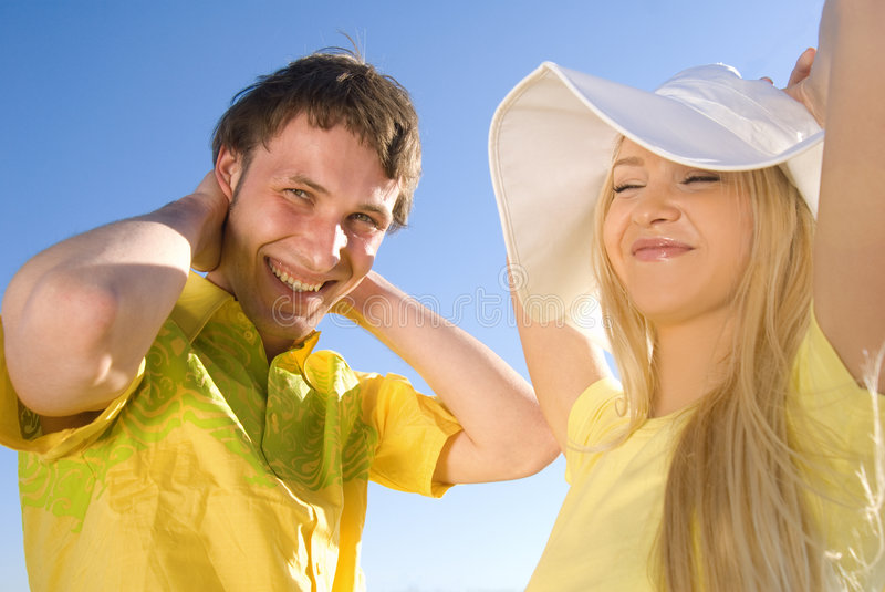 Happy couple at summer time stock image