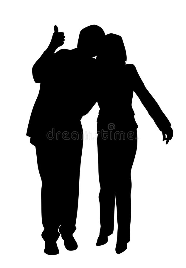 Happy couple with thumb up royalty free illustration