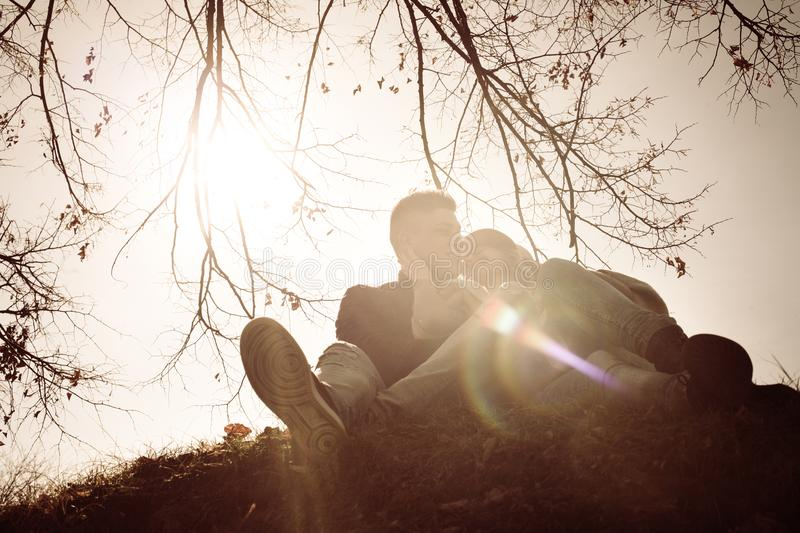 Happy couple together in park. royalty free stock images