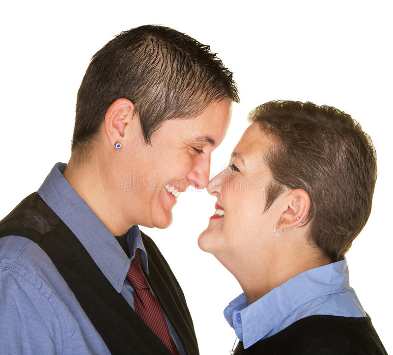 Happy Couple Touching Noses royalty free stock photography