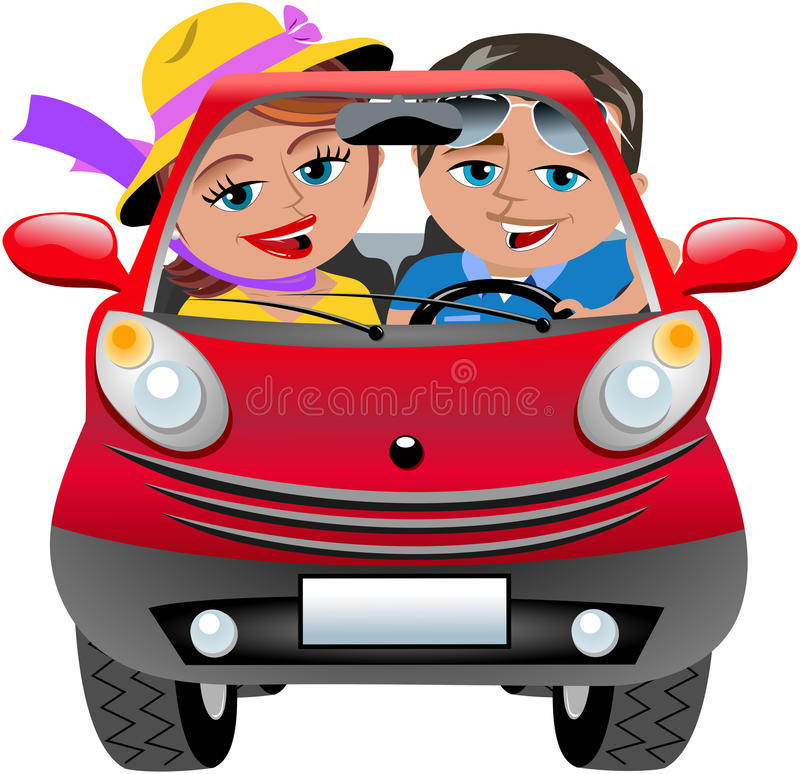 Happy Couple Travelling Car Isolated. Illustration featuring Bob and Meg travelling in red small cartoon coupe car. Eps file available. You can find other stock illustration