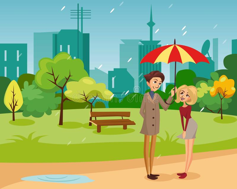 Happy couple under one big striped umbrella walking in the park, rainy weather concept cartoon vector Illustration royalty free illustration