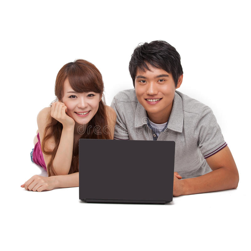 Happy Couple Using Laptop Stock Images