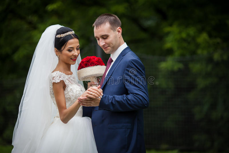 Happy couple of valentyne newlyweds holding hands in a park closeup royalty free stock photos