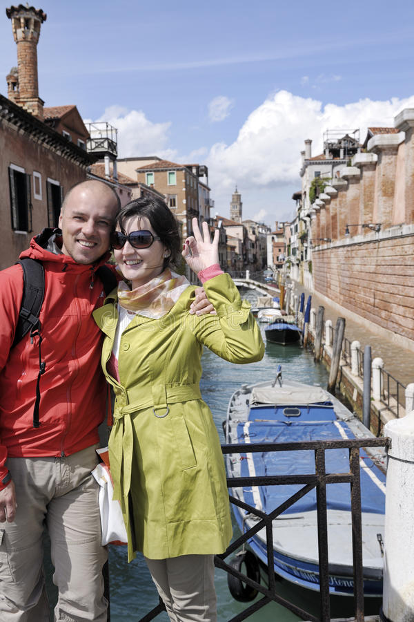 Happy couple in venice stock images