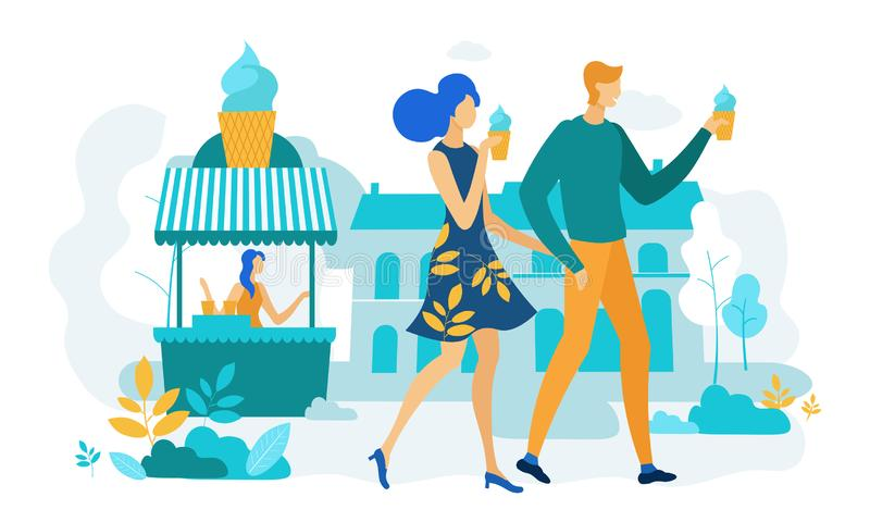 Happy Couple Walking in City Park Eating Ice Cream. Happy Couple Holding Hands Walking in City Park Eating Ice Cream. Loving Pair of Characters Spending Time royalty free illustration