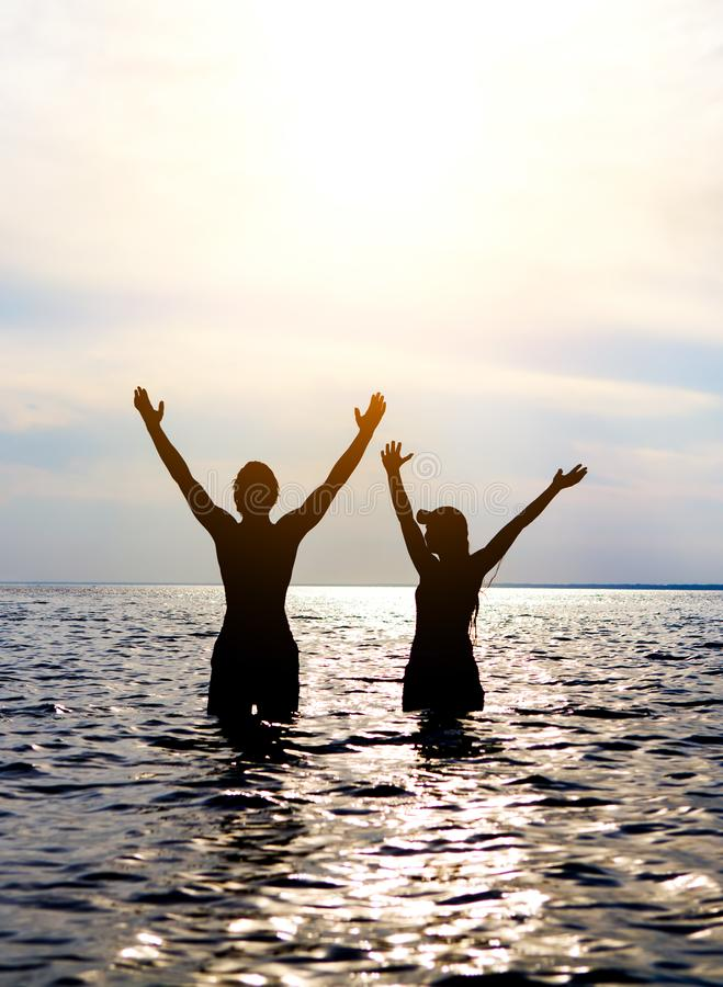 Happy Couple in the Water royalty free stock photography