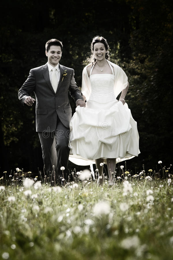 Happy couple on wedding day. Happy couple walking through field of wildflowers on their wedding day