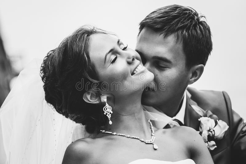 Happy couple on wedding day. Bride and Groom. royalty free stock image