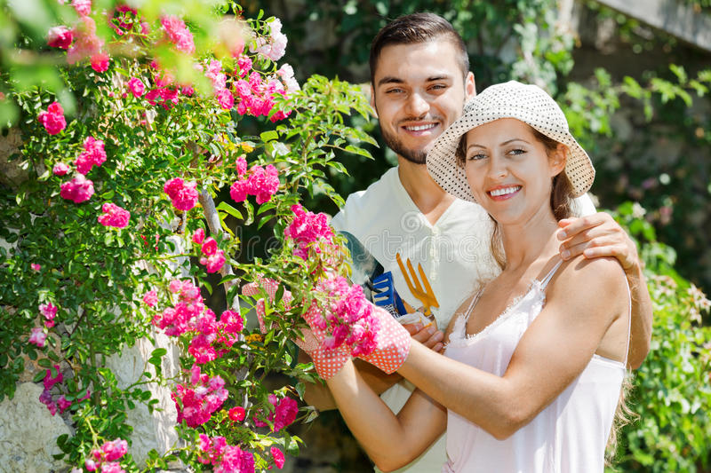 Happy couple working in garden. Laughing happy couple working in the flower garden royalty free stock images