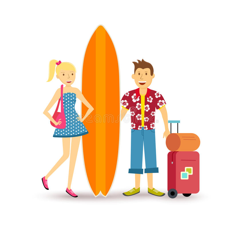 Happy couple young surf holiday summer travel stock illustration