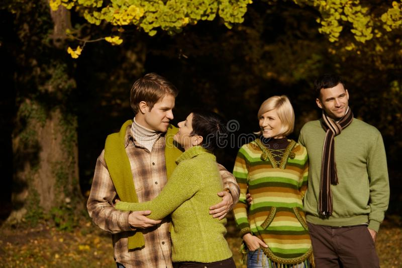 Download Happy Couples In Autumn Forest Stock Photo - Image: 22664616