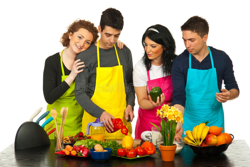 Happy Couples Cooking Together Stock Photos