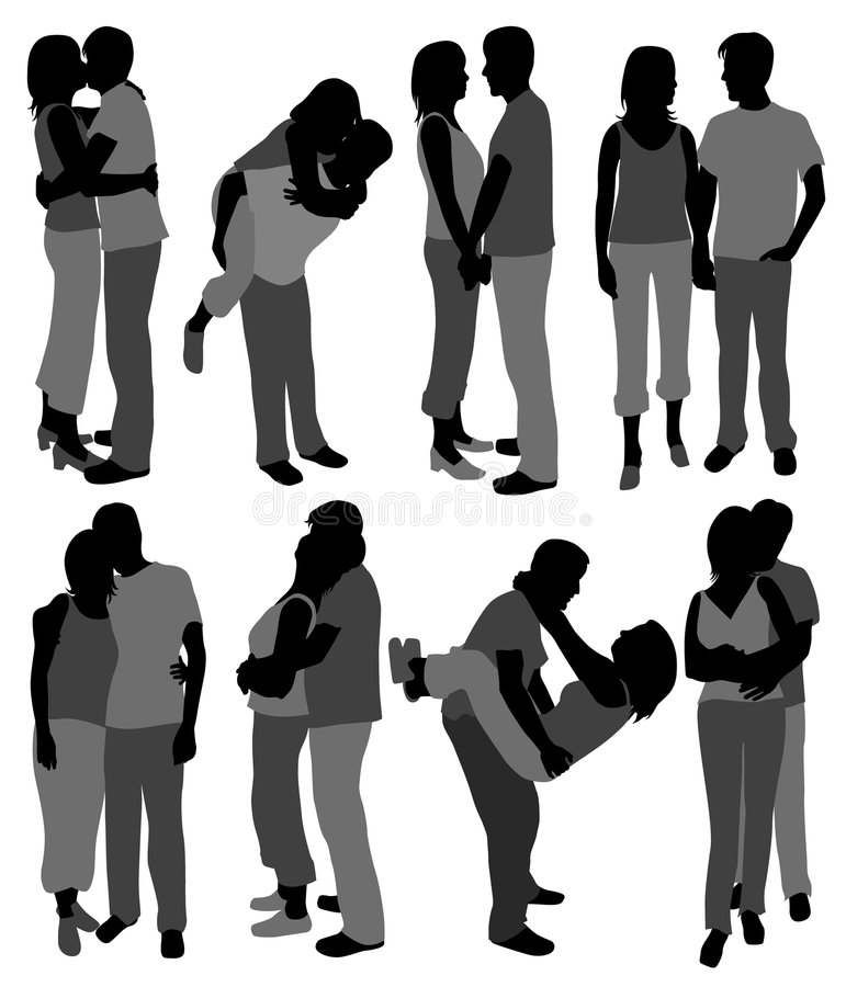 Download Happy couples in love stock vector. Image of silhouette - 2306024