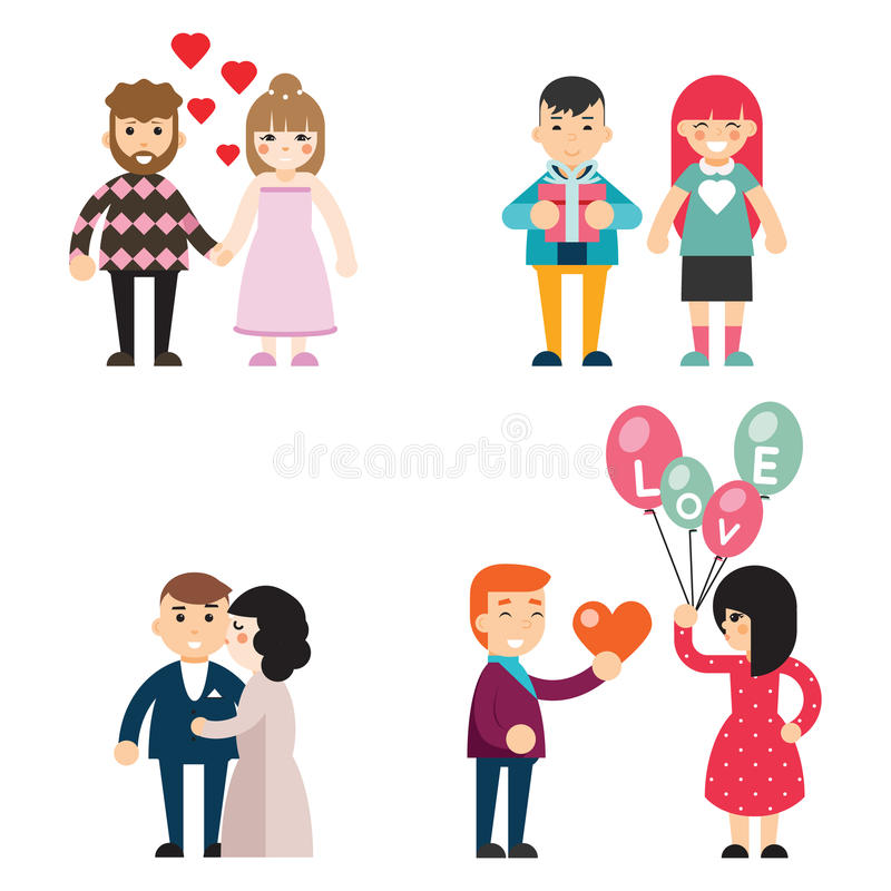 Happy couples in love Valentine Day men and women characters Concept Flat Design Vector Illustration. Happy couples love Valentine Day men and women characters stock illustration