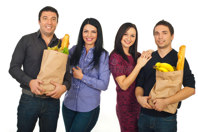 Happy couples at shopping for food royalty free stock image
