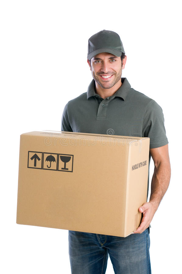 Happy courier royalty free stock photos