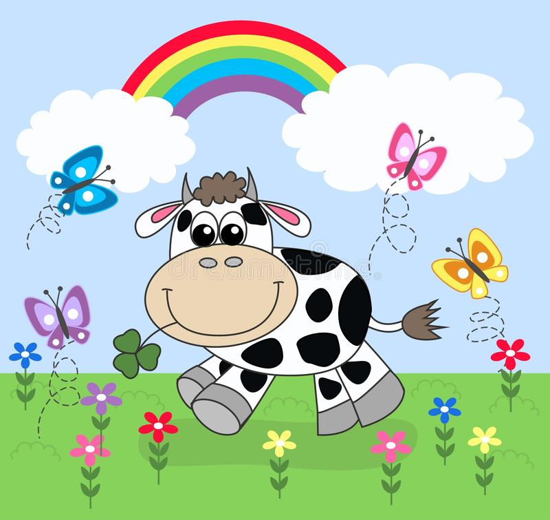 Happy cow royalty free illustration