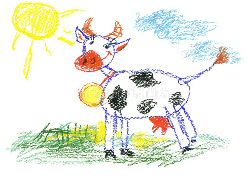 Happy cow. Small child painting the cow with coloured pencils vector illustration
