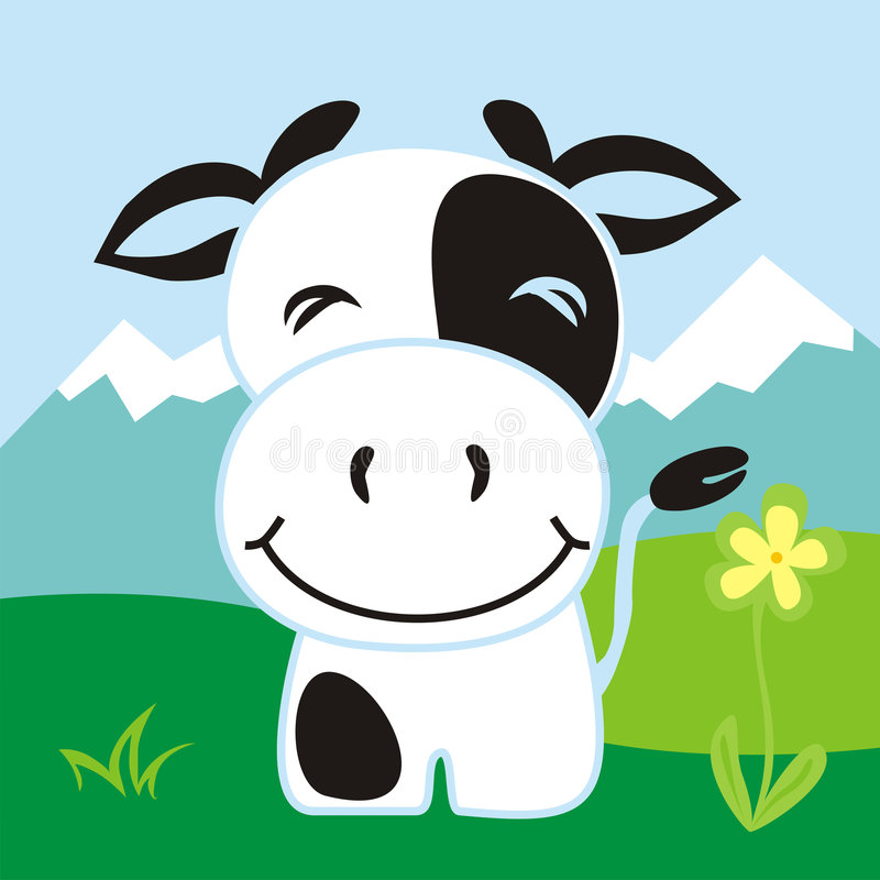 Free Happy Cow Royalty Free Stock Photography - 8049537
