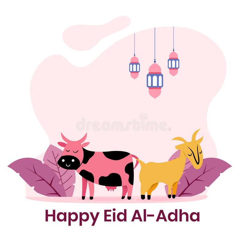 Free Happy Cow And Sheep Colorful Flat Illustration. Islamic Design Illustration Concept For Happy Eid Al Adha Or Sacrifice Celebration Royalty Free Stock Images - 191966769