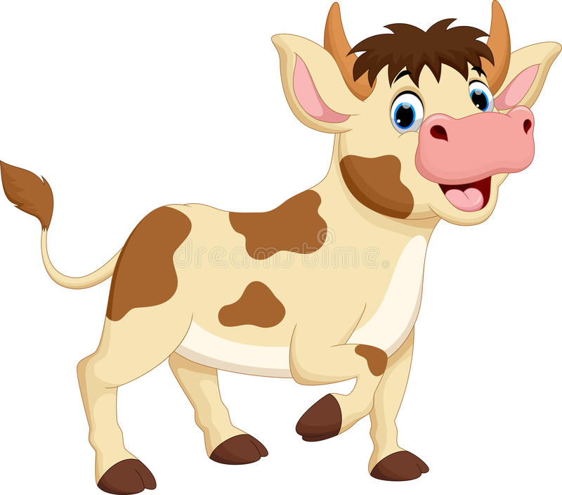 Happy cow cartoon vector illustration