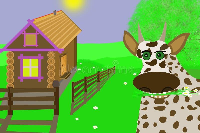 Happy cow.Illustration. royalty free stock image
