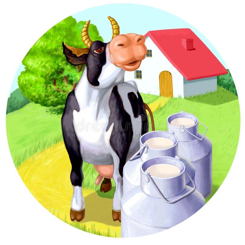 Happy cow with milk. Alpine cow near the farm with milk stock illustration
