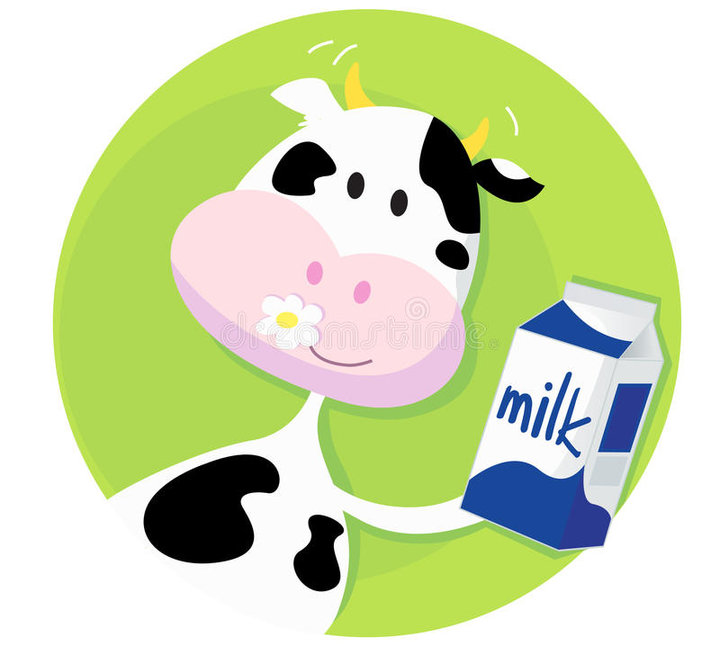Download Happy Cow With Milk Box On Green Background Stock Photos - Image: 14152293