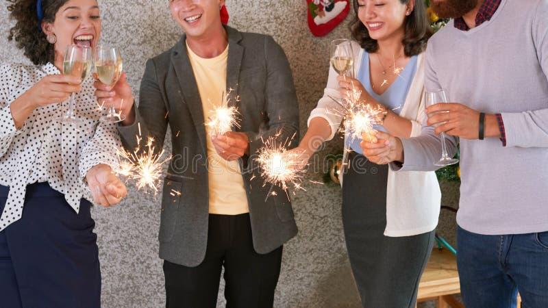 Business people celebrating Christmas royalty free stock photos