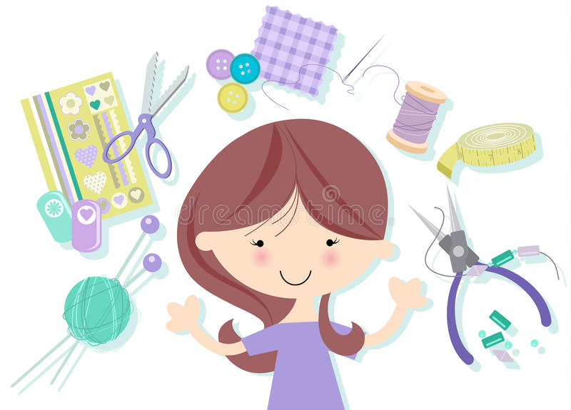 Download Happy Crafter stock vector. Image of painting, sewing - 27666111