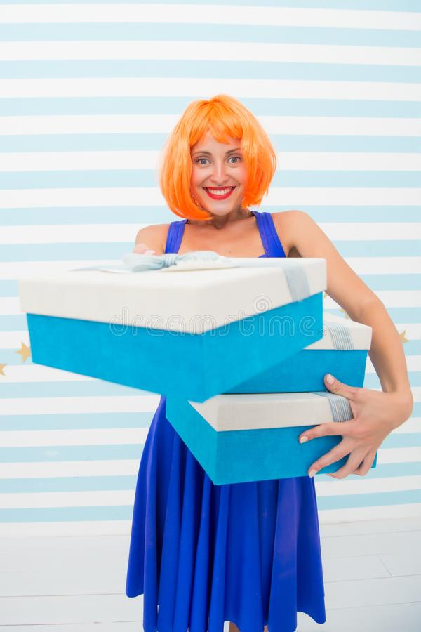 Happy crazy girl with presents. boxing day concept. birthday or christmas present box. its a great offer. big sale stock photo
