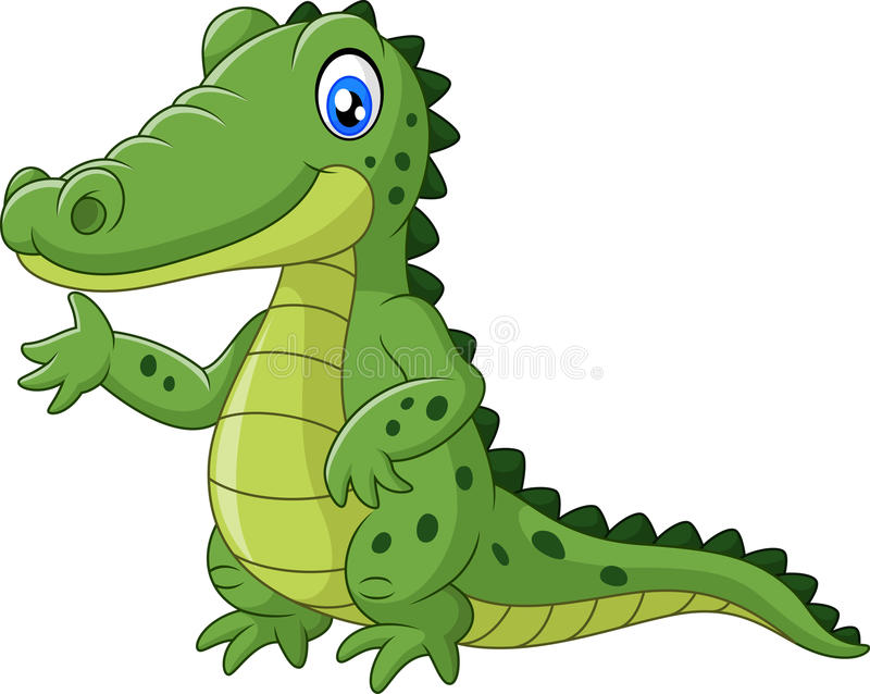 Happy crocodile waving hand royalty free illustration