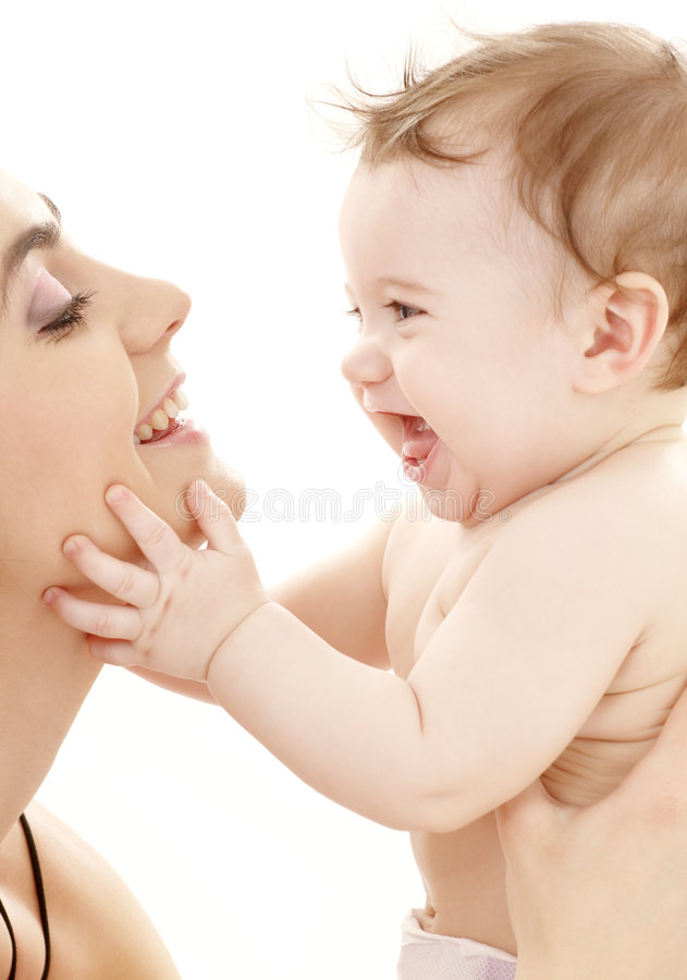 Happy cuddle with mother royalty free stock photography