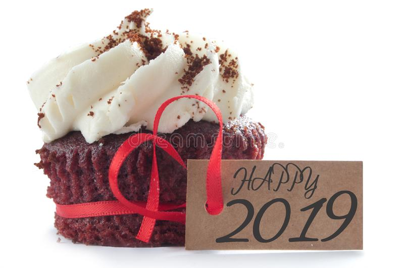 Happy 2019 cupcake stock image