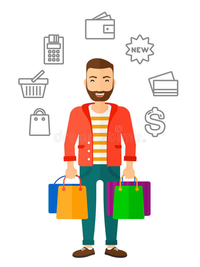 happy customer with bags stock vector illustration of consumerism rh dreamstime com