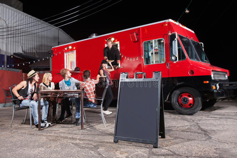 Happy Customers at Food Truck royalty free stock photography