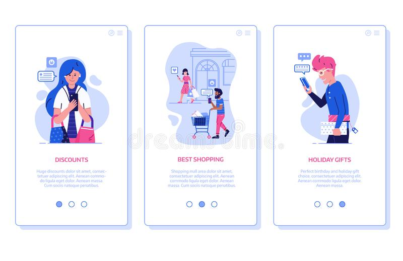 Happy Customers on Shopping App Screens stock illustration