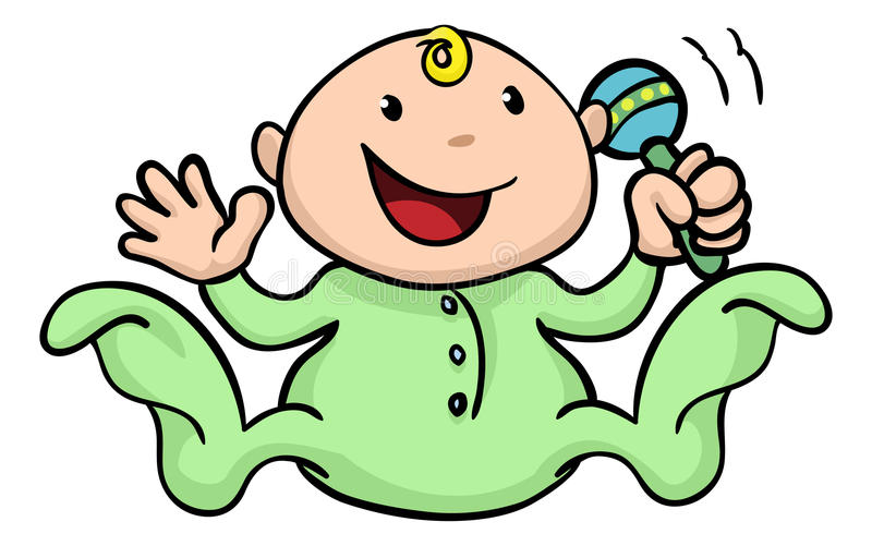 Happy cute baby playing with rattle. Clipart illustration of a happy cute baby playing with his or her rattle and waving royalty free illustration