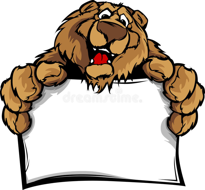 Happy Cute Bear Mascot Holding Sign vector illustration